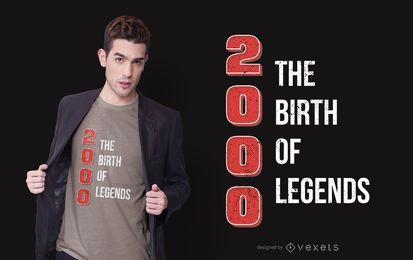 Projeto do t-shirt das citações do aniversário da legenda