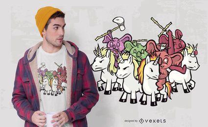 Diseño de camiseta de Koala Unicorn Warriors