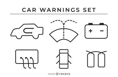 Conjunto de ícones de aviso de carro