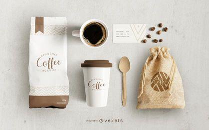 Design de maquete de elementos de café