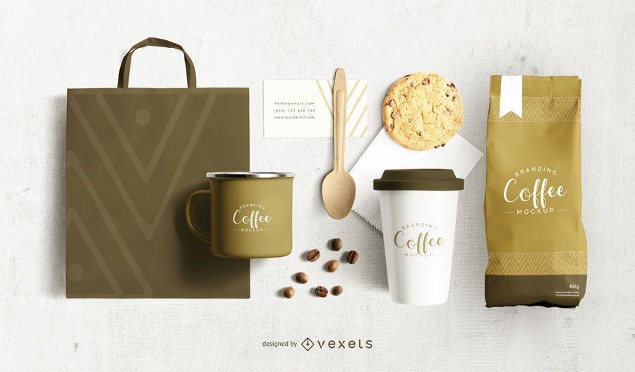 Diseño de maqueta de marca de café