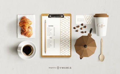 Maqueta de marca de cafetería