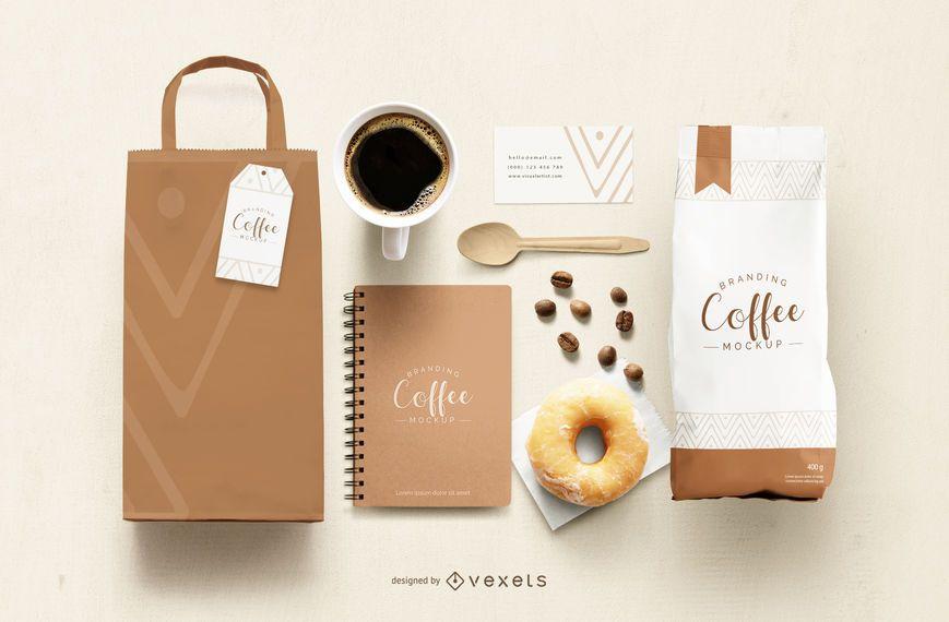 Maqueta de elementos de marca de café