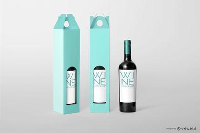 Maquete editável de embalagens de vinho