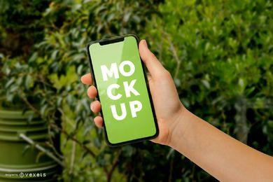 Maquete de tela do telefone verde