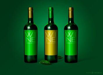 Maquete de embalagem de garrafa de vinho