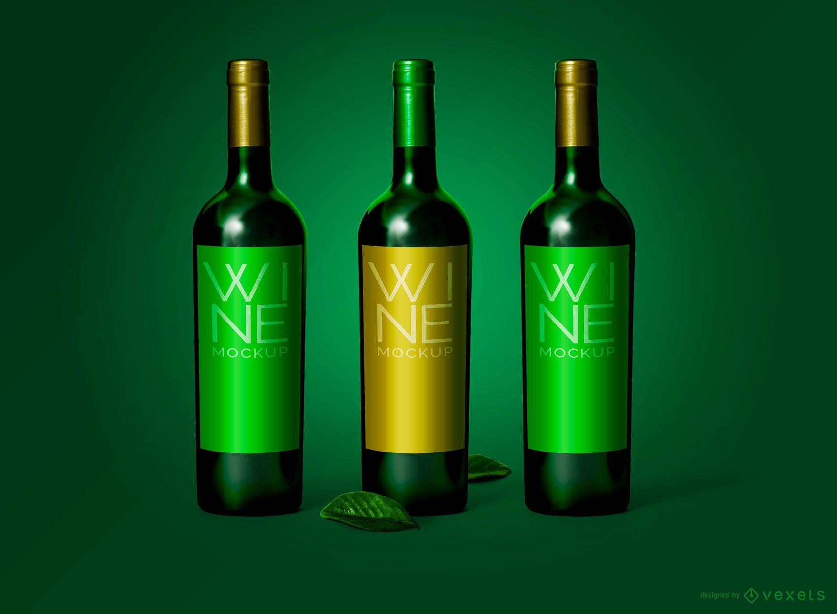 Maqueta de empaque de botella de vino