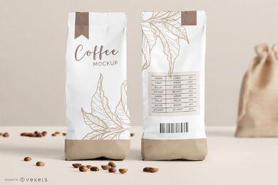 Maquete de embalagem de saco de café