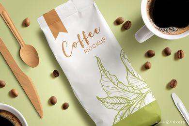 Maquete de vista superior de embalagens de café