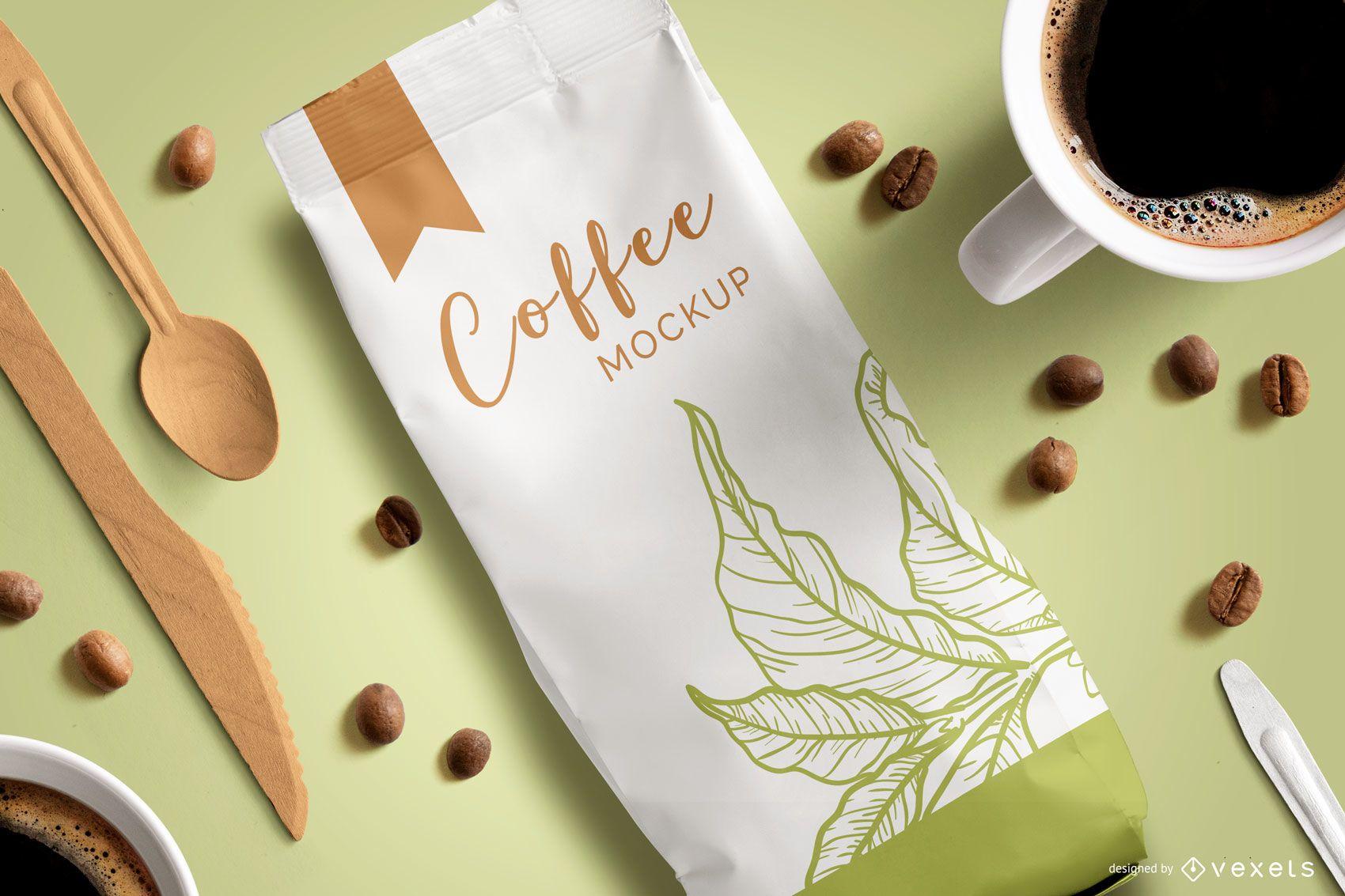 Coffee Packaging Top View Mockup