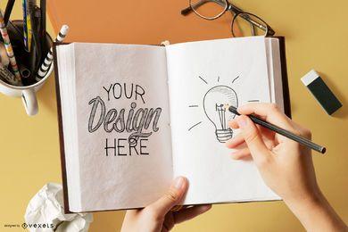 Sketchbook Interior Editable Mockup