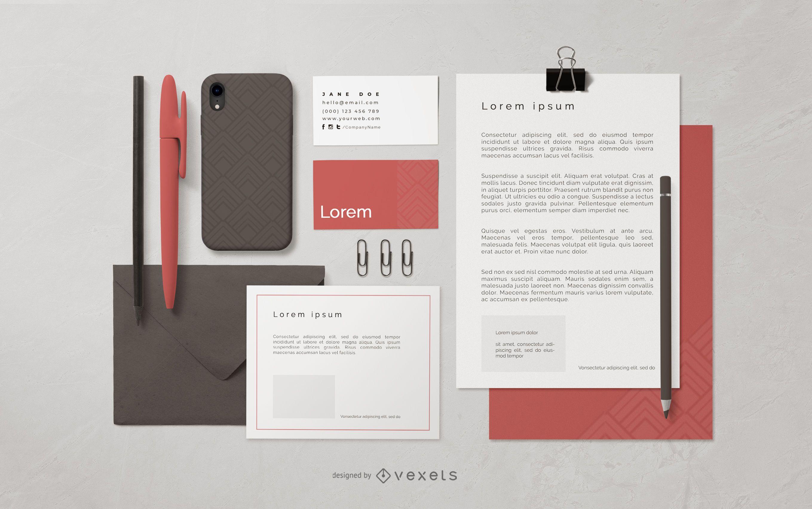Stationery Branding Composition Mockup