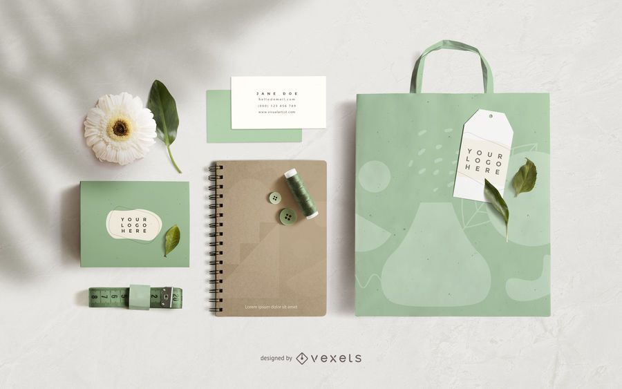 Nature Stationery Mockup Composition