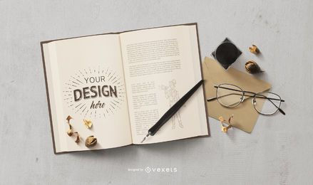 Vintage book mockup composition