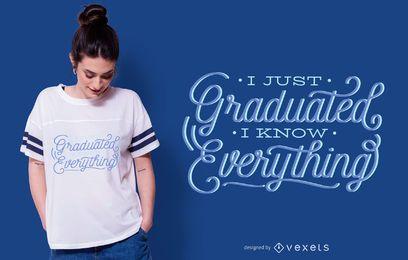Diseño divertido de la camiseta de las letras de la graduación