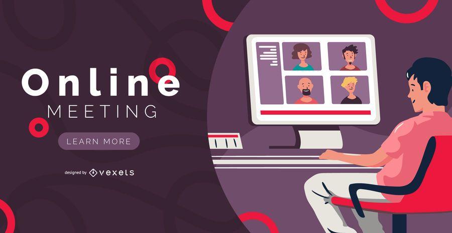 Diseño de banner de reunión en línea
