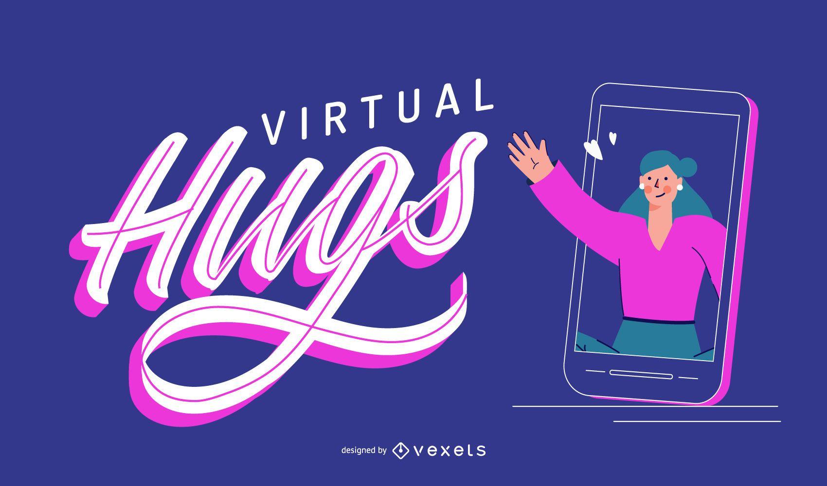 Virtual Hugs Coronavirus Lettering