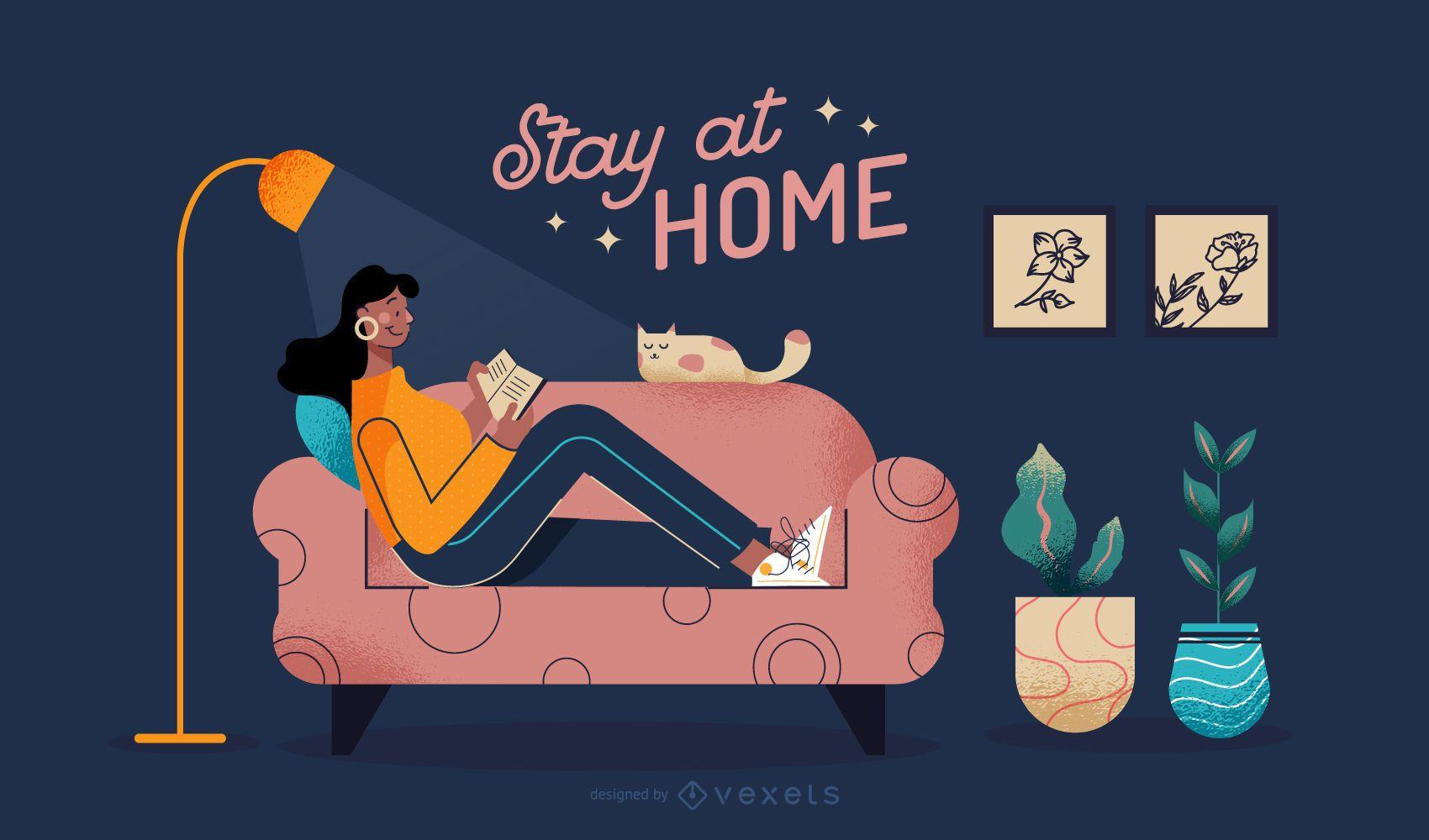 Ilustración de personas que se quedan en casa
