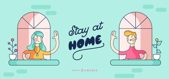 Fique em casa pessoas Cartoon Design