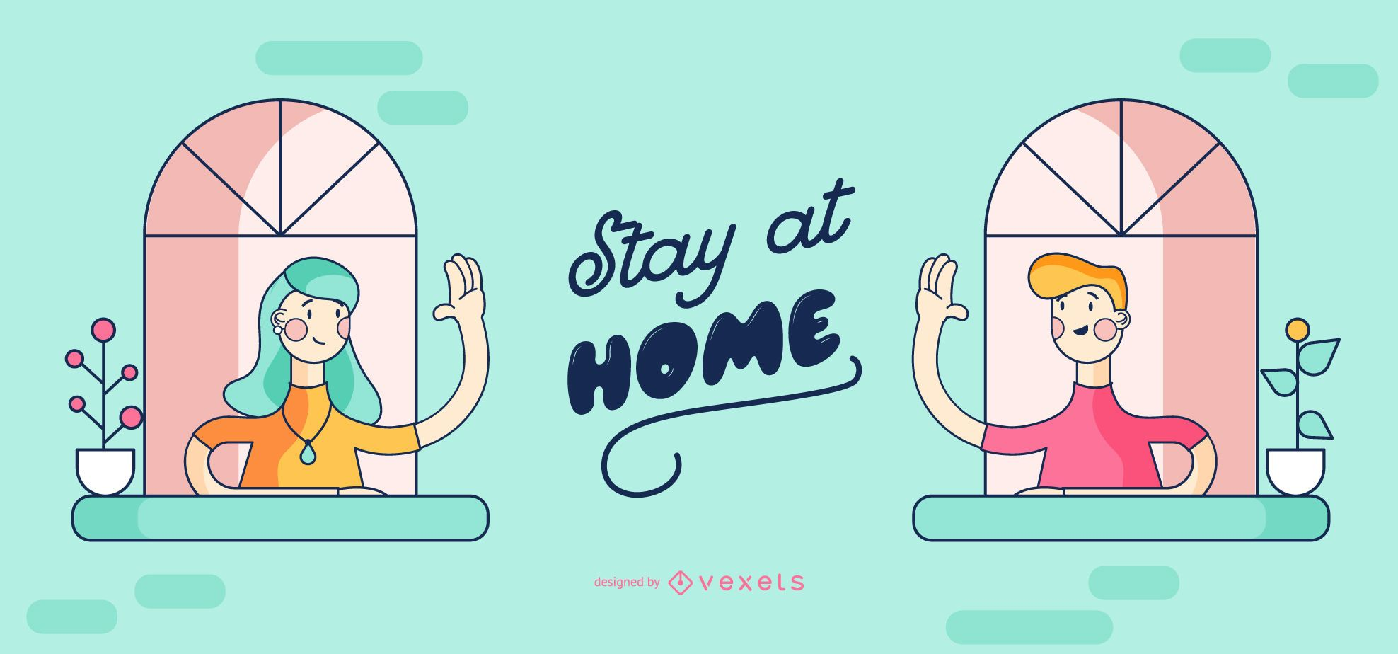 Stay at Home People Cartoon Design