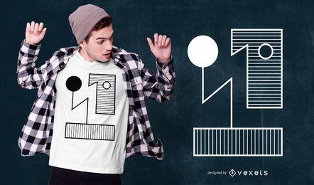 Diseño de camiseta abstracta de estilo Bauhauhs