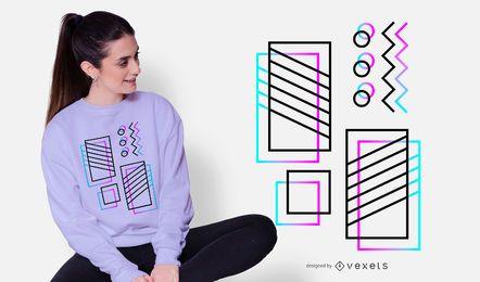 Design abstrato de t-shirt com moldura de néon