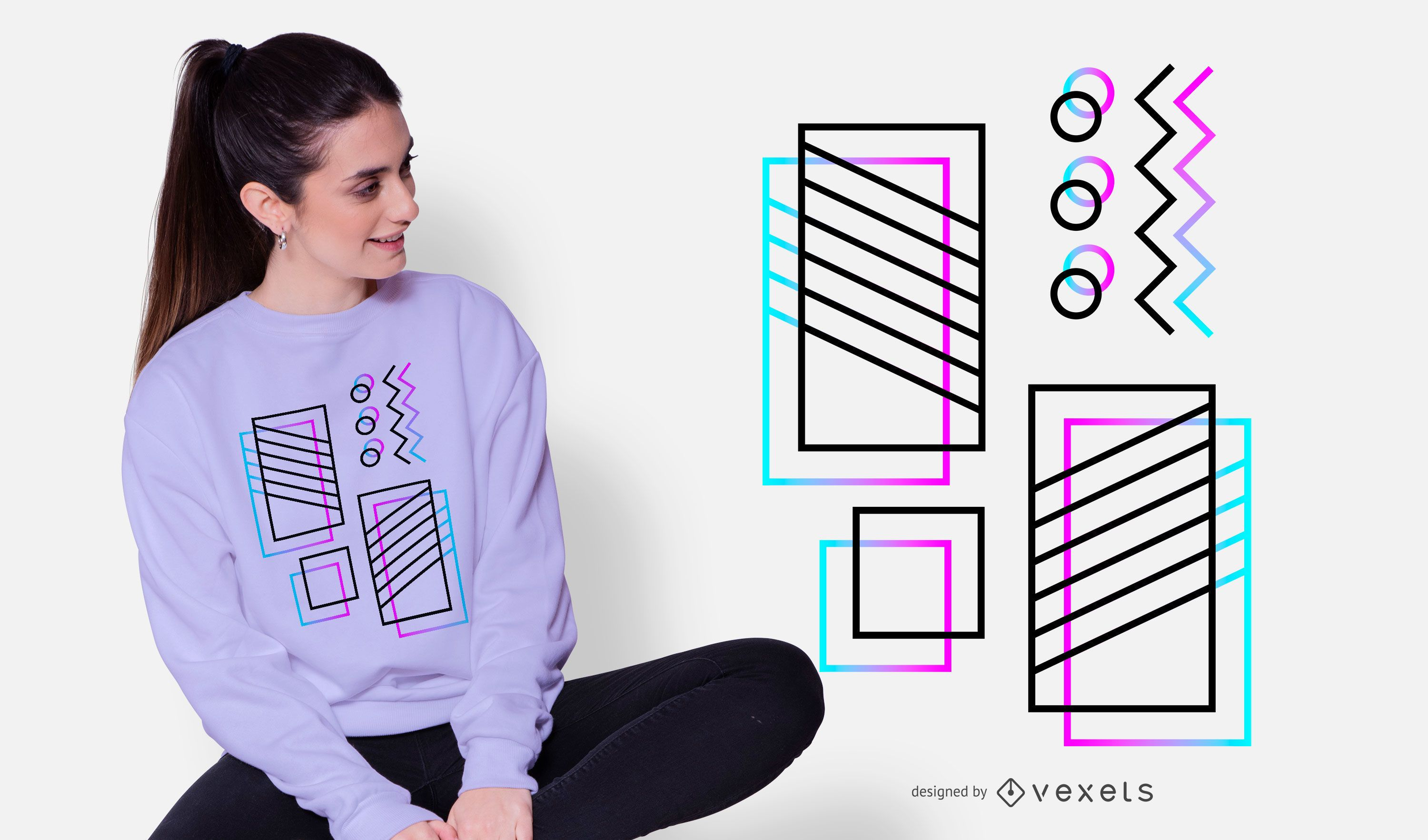 Abstract Neon Frame T-shirt Design