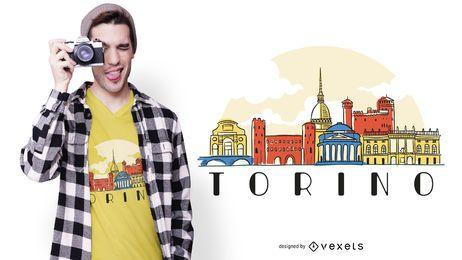 Diseño de camiseta de torino skyline