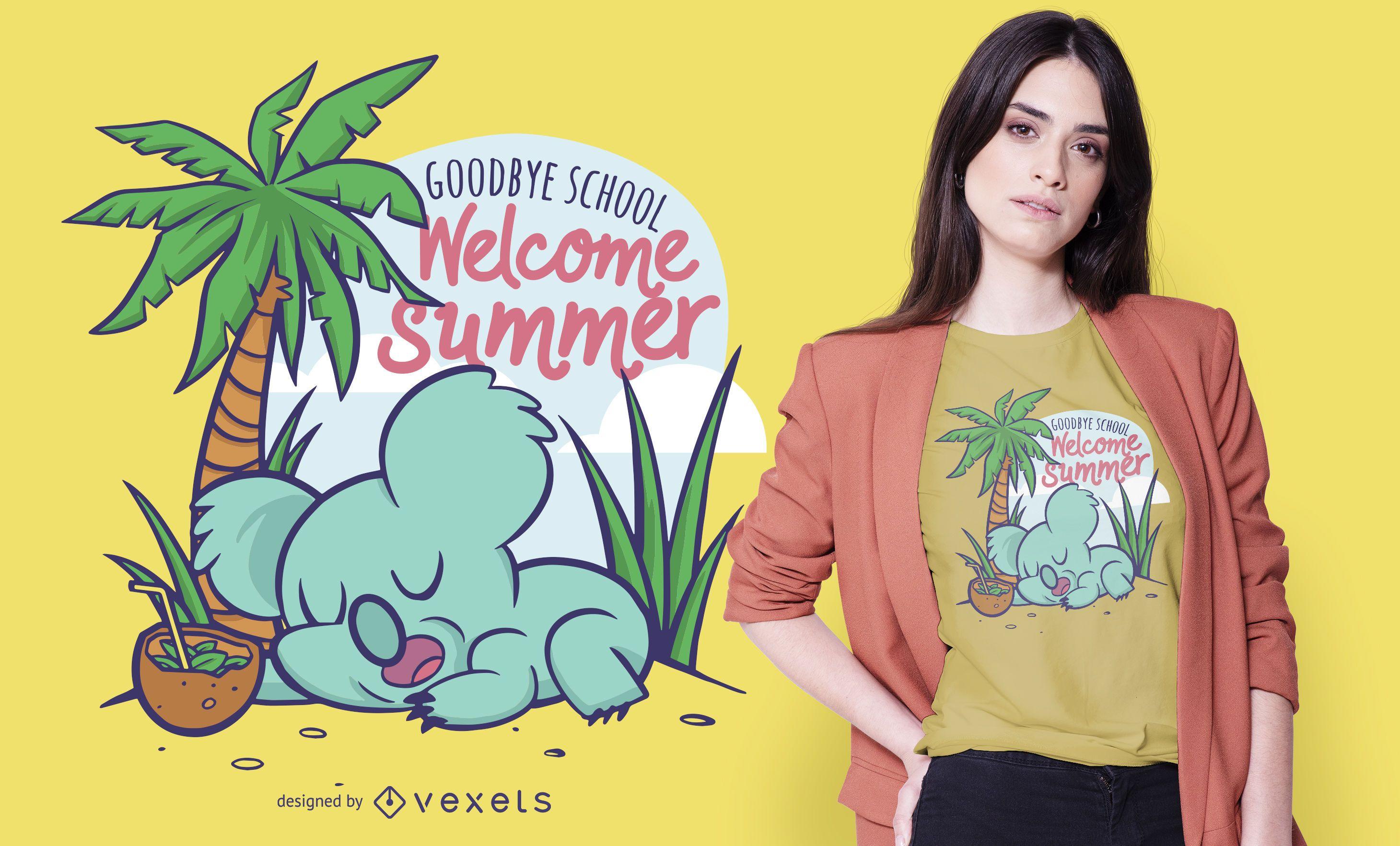 Diseño de camiseta de verano Koala.