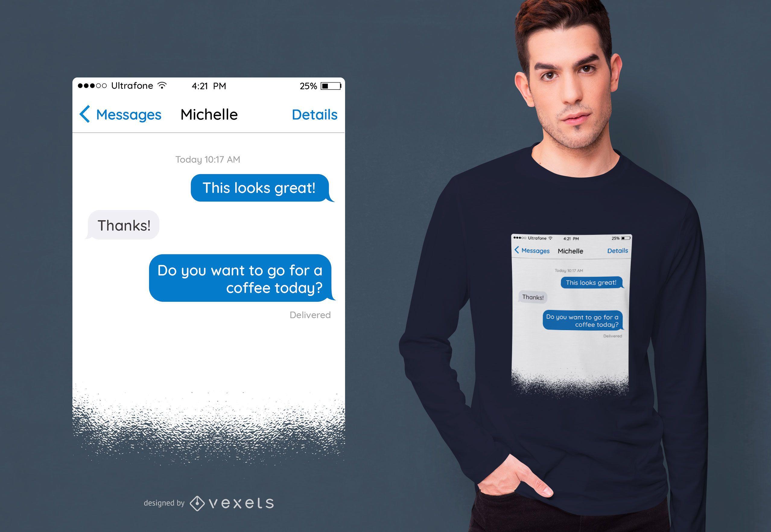 Design de camiseta para mensagem de texto