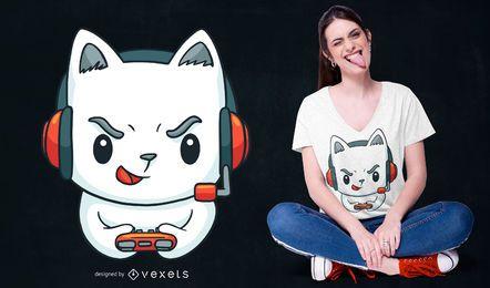 Design de t-shirt de gatinho de jogador