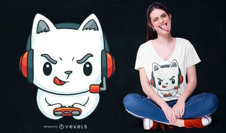 Diseño de camiseta Gamer Kitten