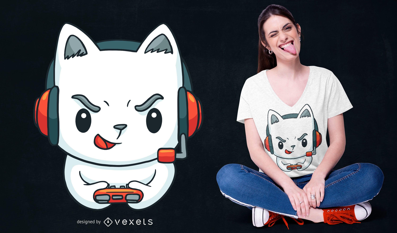 Diseño de camiseta Gamer Kitten
