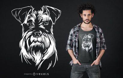 Diseño de camiseta con ilustración de perro Schnauzer
