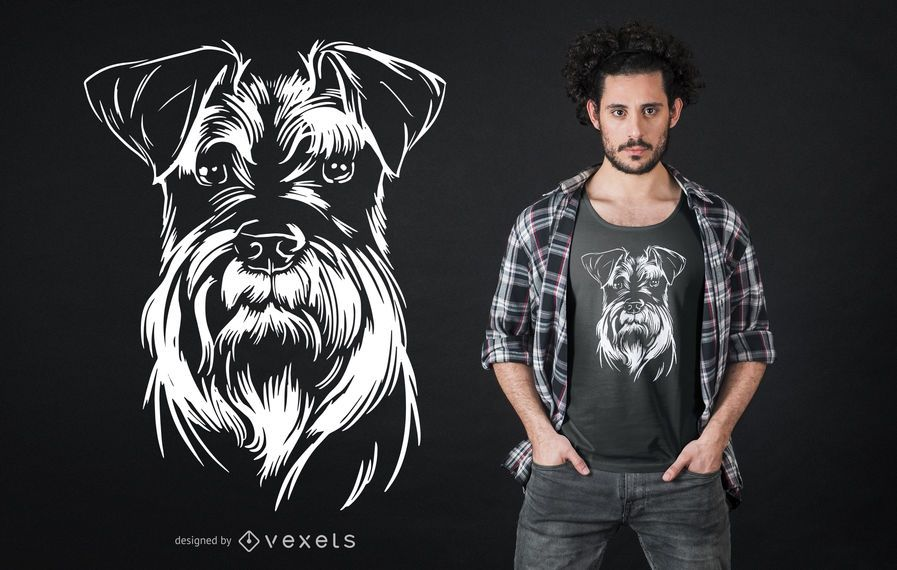 Schnauzer Dog Illustration T-shirt Design