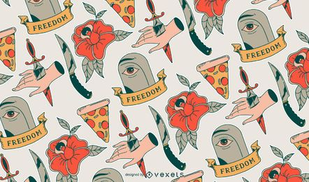 Retro tattoo pattern design