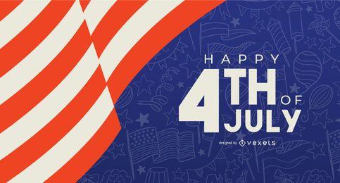 Glückliche 4. Juli Banner Vorlage