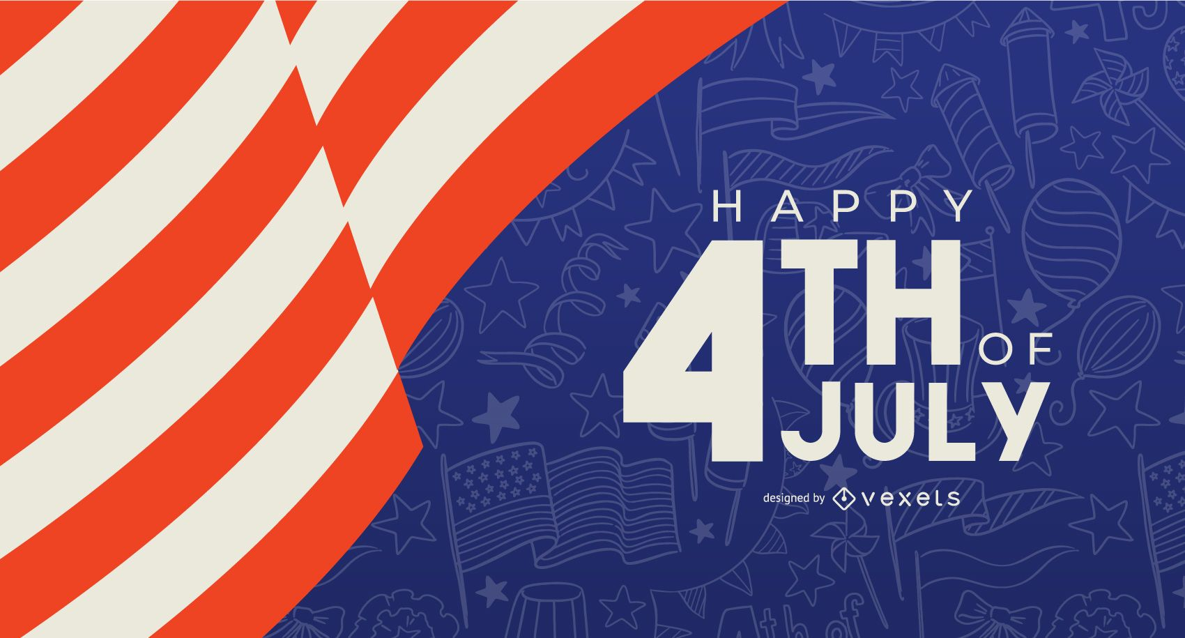 Plantilla de banner de feliz 4 de julio