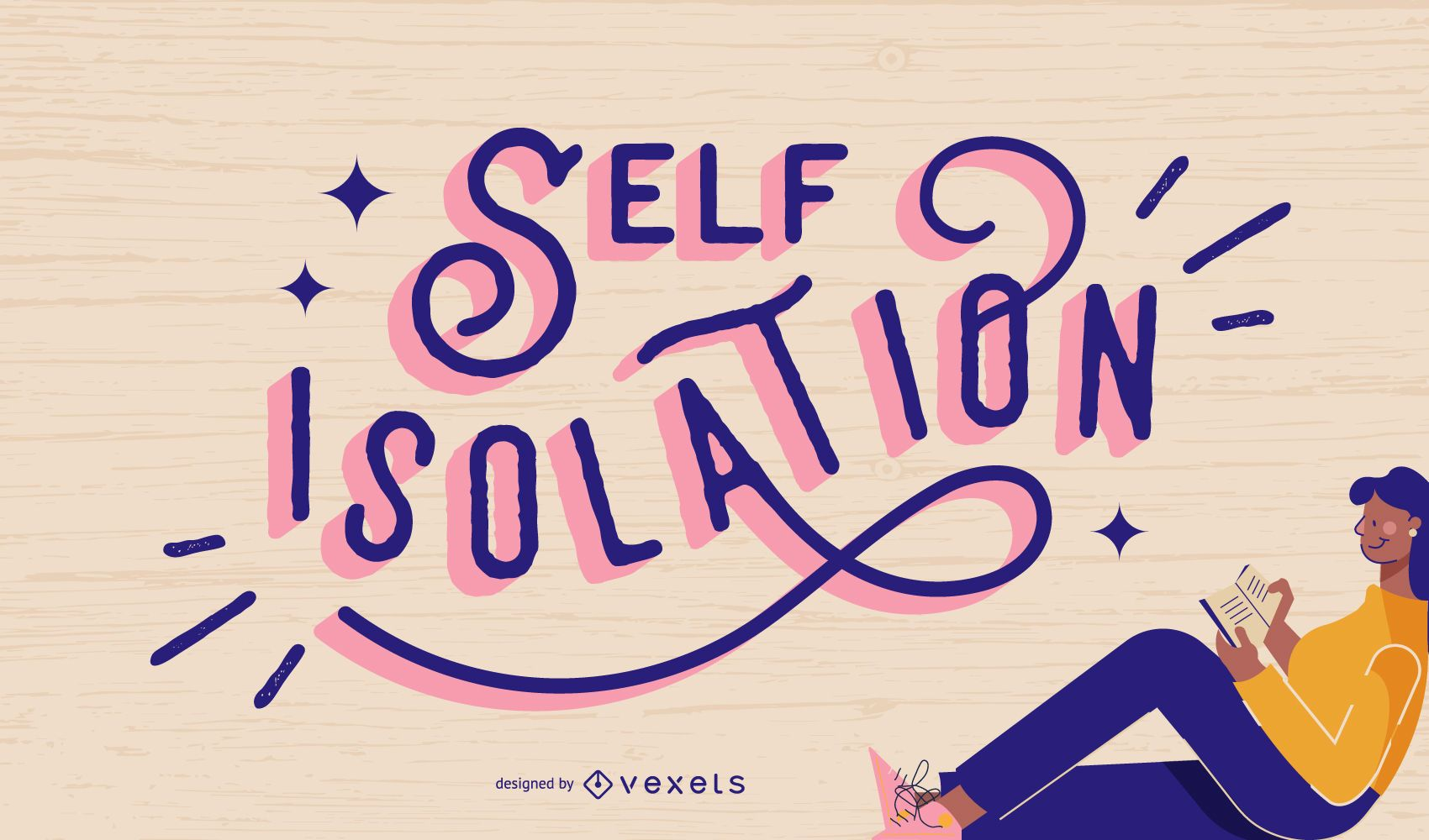 Self isolation lettering design
