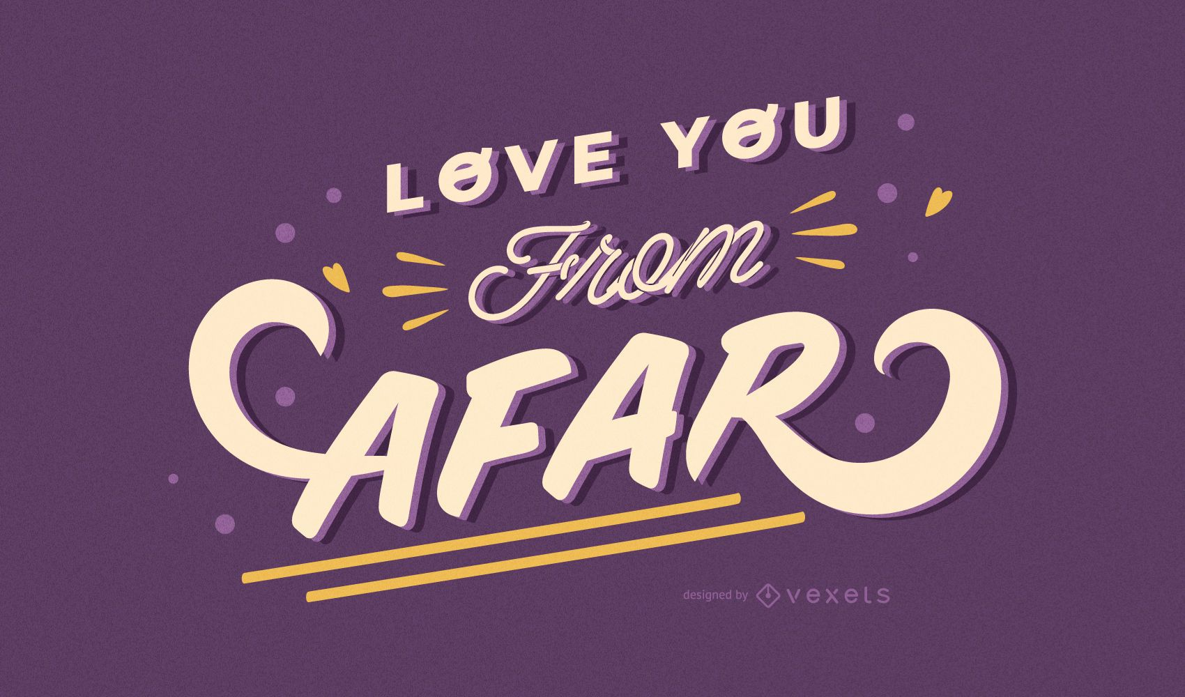 Love you from afar lettering design