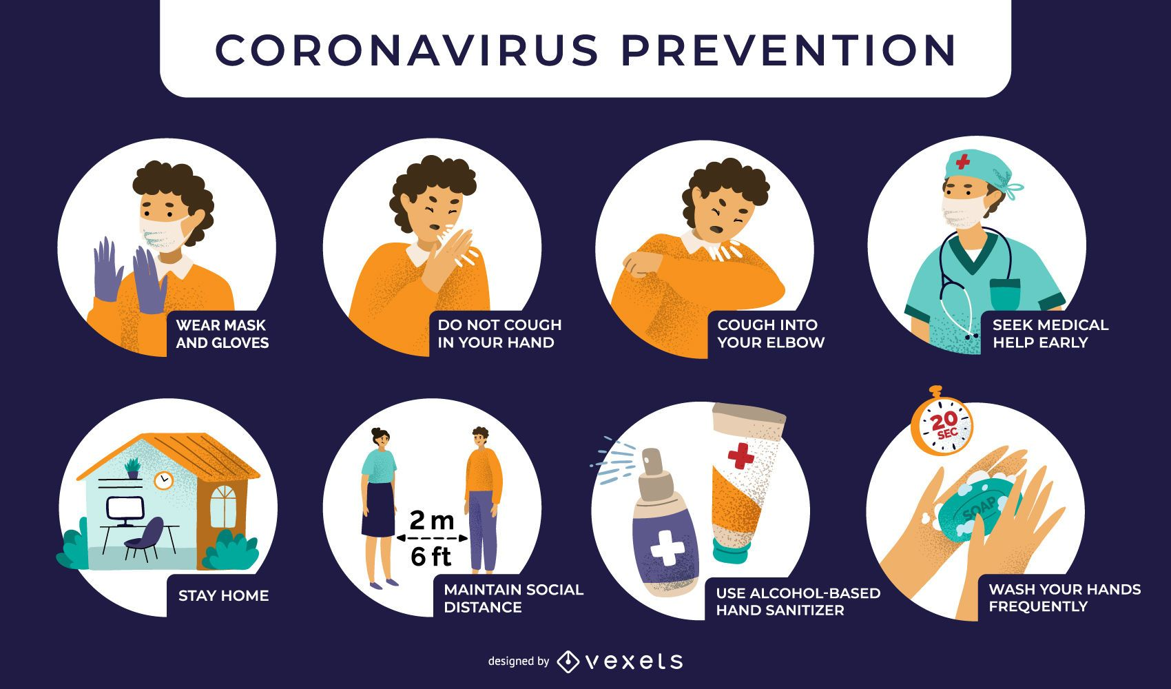 Coronavirus prevention illustrations
