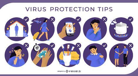 Conjunto de ilustração de dicas de proteção contra vírus