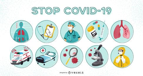 Conjunto de ilustración de prevención de covid-19