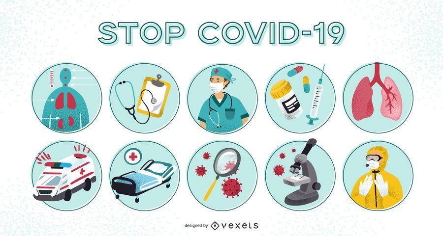 Covid-19 prevention illustration set