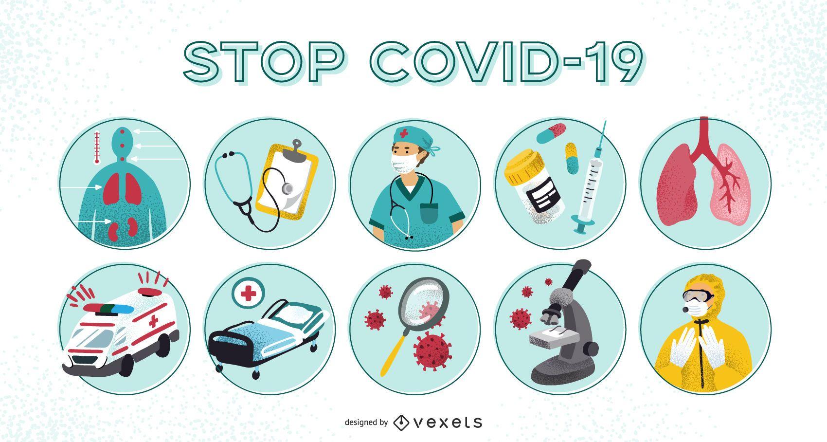 Conjunto de ilustraci?n de prevenci?n de covid-19