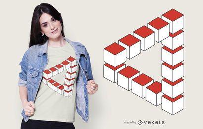 Diseño de camiseta abstracta de triángulo imposible