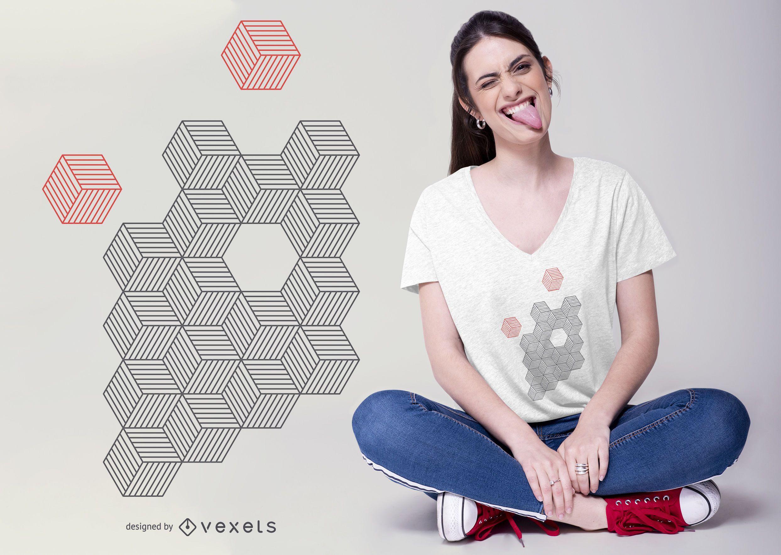 Diseño de camiseta de cubos abstractos