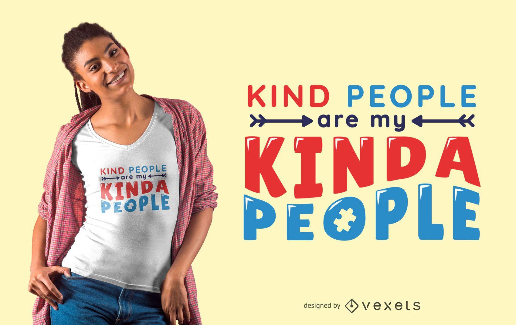 Diseño de camiseta de texto de autismo de personas amables
