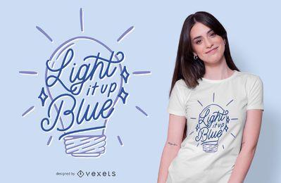 Diseño de camiseta de cita de autismo de bombilla