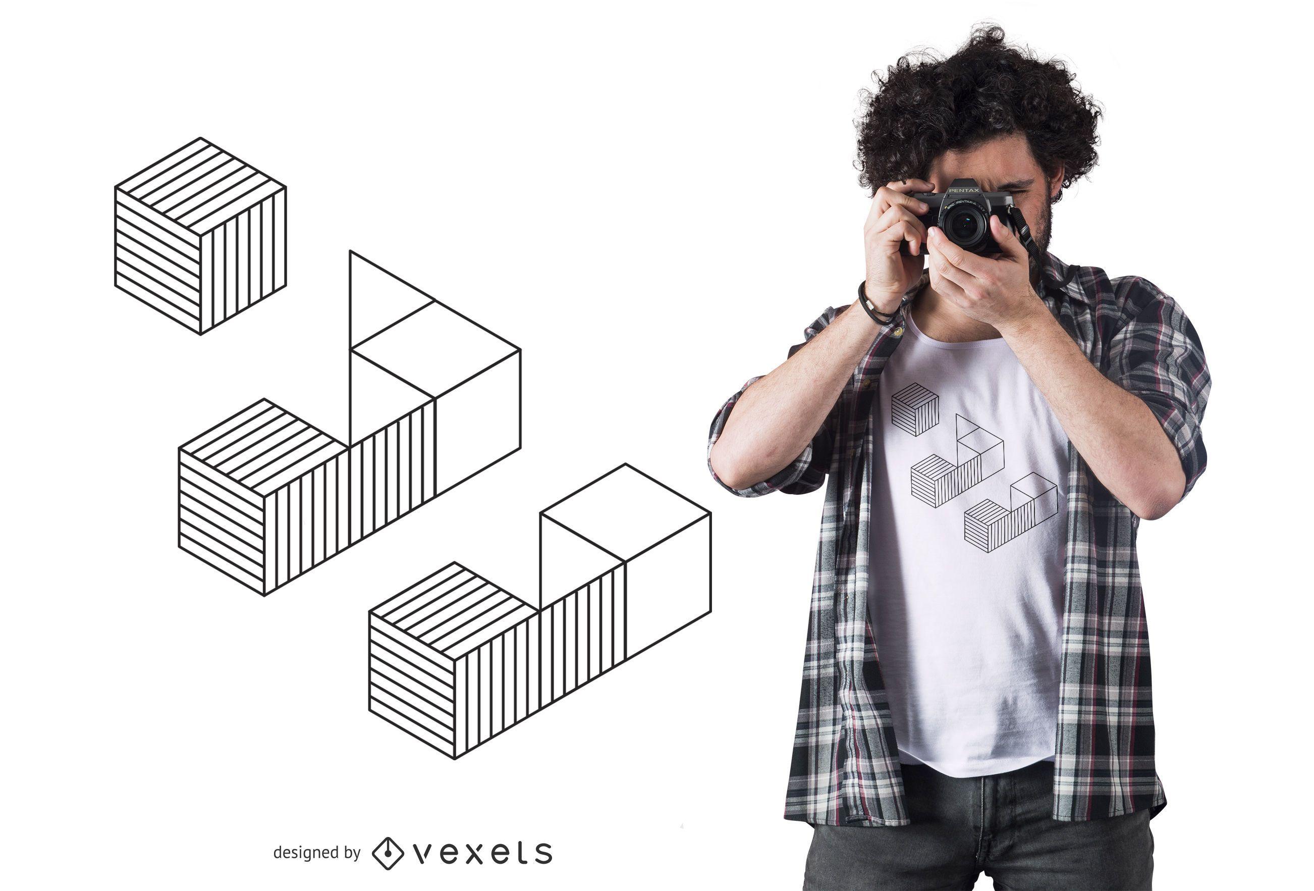 Geometric Isometric Cubes T-shirt Design